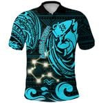 Aquarius Zodiac Polo Shirt Style Polynesian Tattoo Front | 1st New Zealand