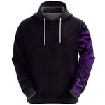 Maori Samoan Tattoo Zip Hoodie Violet Version K12