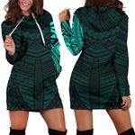 Maori Samoan Tattoo Women Hoodie Dress Turquoise Version K12