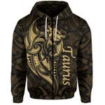 Taurus zodiac Mix Polynesian Tattoo Zip-Hoodie Gold