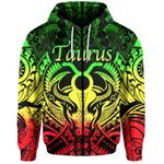 Taurus zodiac With Symbol Mix Polynesian Tattoo Zip-Hoodie Rasta