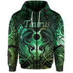Taurus zodiac With Symbol Mix Polynesian Tattoo Zip-Hoodie Green