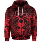 Taurus zodiac With Symbol Mix Polynesian Tattoo Zip-Hoodie Red