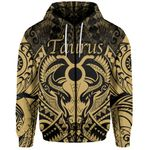 Taurus zodiac With Symbol Mix Polynesian Tattoo Zip-Hoodie Gold