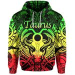 Taurus zodiac With Symbol Mix Polynesian Tattoo Hoodie Rasta