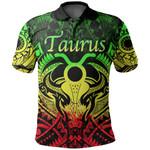 Taurus zodiac With Symbol Mix Polynesian Tattoo Polo Shirt Rasta
