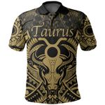 Taurus zodiac With Symbol Mix Polynesian Tattoo Polo Shirt Gold