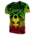 Taurus zodiac With Symbol Mix Polynesian Tattoo T-Shirt Rasta