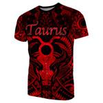Taurus zodiac With Symbol Mix Polynesian Tattoo T-Shirt Red