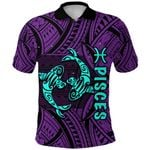 Pisces Zodiac Polo Shirt Style Polynesian Tattoo Front | 1st New Zealand