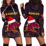 Brisbane Women Hoodie Dress Broncos Christmas