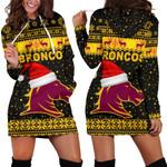 Brisbane Women Hoodie Dress Broncos Christmas Unique Vibes - Black
