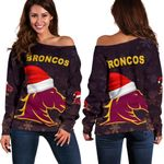 Brisbane Women Off Shoulder Sweater Broncos Christmas Unique Vibes - Black