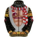 Brisbane Zip Hoodie Broncos Christmas Nice Abs - Black