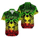 Taurus zodiac With Symbol Mix Polynesian Tattoo Hawaiian Shirt Rasta