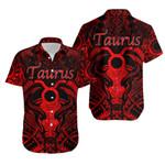 Taurus zodiac With Symbol Mix Polynesian Tattoo Hawaiian Shirt Red