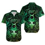Taurus zodiac With Symbol Mix Polynesian Tattoo Hawaiian Shirt Green