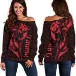 Taurus zodiac Mix Polynesian Tattoo Women's Off Shoulder Sweater Red