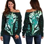 Taurus zodiac Mix Polynesian Tattoo Women's Off Shoulder Sweater Green