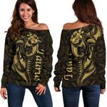 Taurus zodiac Mix Polynesian Tattoo Women's Off Shoulder Sweater Gold