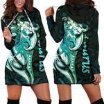 Taurus zodiac Mix Polynesian Tattoo Women's Hoodie Dress Green