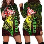 Taurus zodiac Mix Polynesian Tattoo Women's Hoodie Dress Rasta