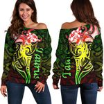 Taurus zodiac Mix Polynesian Tattoo Women's Off Shoulder Sweater Rasta