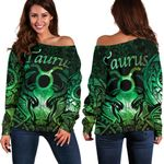 Taurus zodiac With Symbol Mix Polynesian Tattoo Women's Off Shoulder Sweater Green