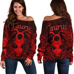 Taurus zodiac With Symbol Mix Polynesian Tattoo Women's Off Shoulder Sweater Red
