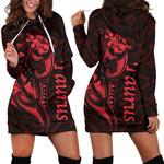 Taurus zodiac Mix Polynesian Tattoo Women's Hoodie Dress Red