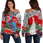 Tui Bird Mix Pohutukawa Off Shoulder Sweater Twist Maori | 1st New Zealand