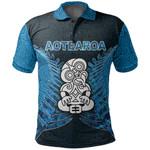 Aotearoa Tiki Polo Shirt With Fern Blue