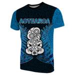 Aotearoa Tiki T-Shirt With Fern Blue