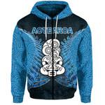 Aotearoa Tiki Zip-Hoodie With Fern Blue
