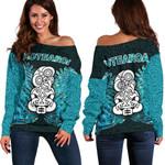 Aotearoa Tiki Women's Off Shoulder Sweater With Fern Green