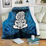 Aotearoa Tiki Premium Blanket With Fern Blue