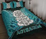 Aotearoa Tiki Quilt Bed Set With Fern Green
