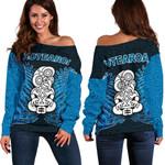 Aotearoa Tiki Women's Off Shoulder Sweater With Fern Blue