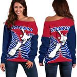Aotearoa Map Women's Off Shoulder Sweater With Fern