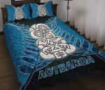 Aotearoa Tiki Quilt Bed Set With Fern Blue