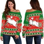 Rabbitohs Christmas Women's Off Shoulder Sweater