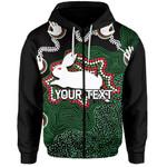 (Custom Personalised)Rabbitohs Zip-Hoodie Aboriginal 2