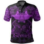 Gemini zodiac Mix Polynesian Tattoo Polo Shirt Purple
