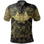 Gemini zodiac Mix Polynesian Tattoo Polo Shirt Gold
