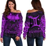 Gemini zodiac Mix Polynesian Tattoo Women's Off Shoulder Sweater Purple