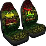 Gemini zodiac Mix Polynesian Tattoo Car Seat Covers Rasta