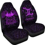 Gemini zodiac Mix Polynesian Tattoo Car Seat Covers Purple