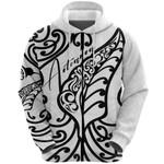 Aotearoa Maori New Zealand Zip Hoodie Tribal Fern White K4