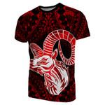 Aries zodiac With Symbol Mix Polynesian Tattoo T-Shirt
