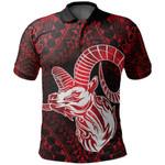 Aries zodiac With Symbol Mix Polynesian Tattoo Polo Shirt